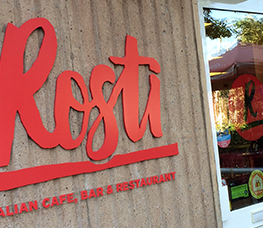 Our new Rosti sign outside of our cafe, bar and restaurant